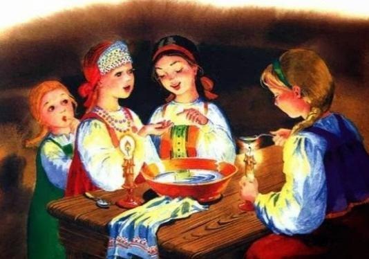 Дівчата гадають на Різдво Христове