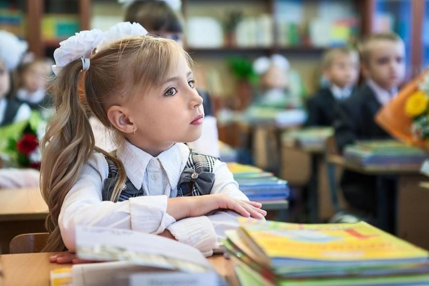 Учениця 1 класу на уроці в українській школі