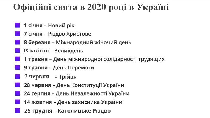 Всі офіційні свята в 2020 році в Україні