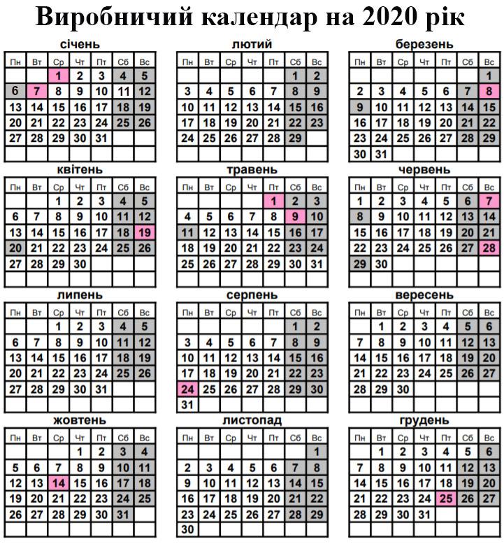 Виробничий календар 2020 з нормами робочого часу (Україна)