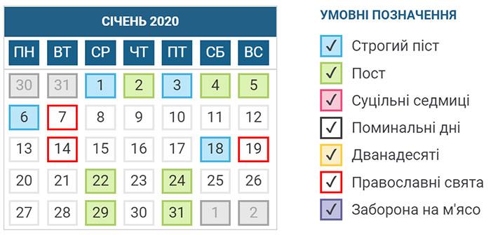 Церковний календар свят і постів на січень 2020 року