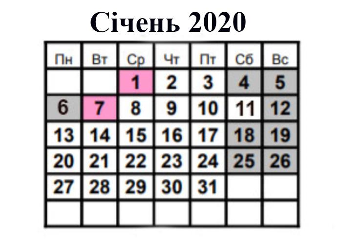 Календар вихідних та робочих днів в січні 2020 року